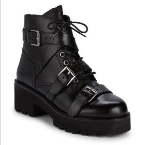 Ash Razor Leather Buckled Platform Boot Sz 38